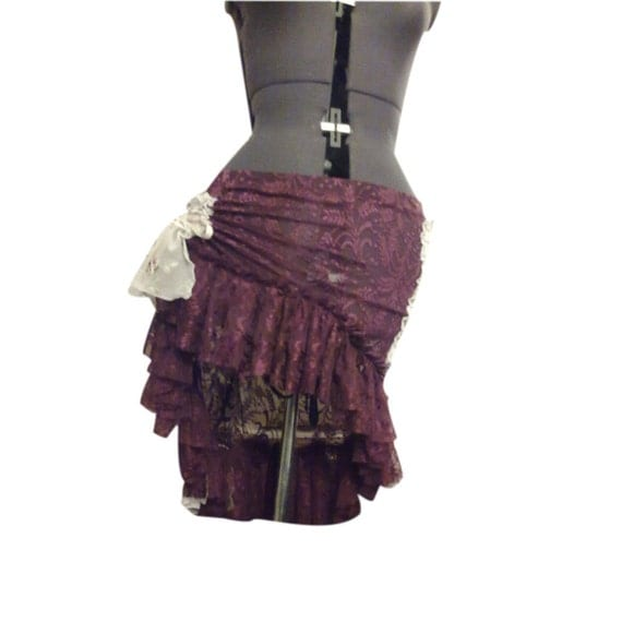 Skirt Tribal Belly Dance Lace Magenta and White Multiple Ways to Wear OOAK Ruffle N Bustle
