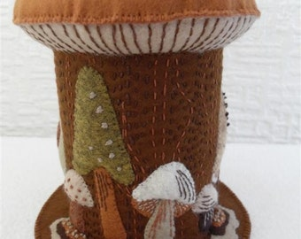 Large mushroom pincushion in brown