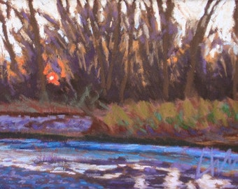 "Pastel Landscape ""Water and Fire"" Giclee Print"