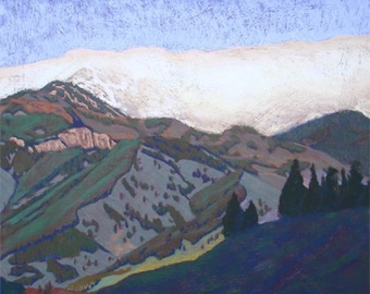 """Pastel Landscape """"Cloud and Mountain"""" Limited Print"""