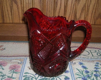 Vintage US Glass Ruby Glass Hobstar Pattern EAPG Pitcher Circa 1915
