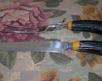 Vintage Faux Antler Bakelite Handles Carving Set, Fork With Folding Rest and Carving Knife