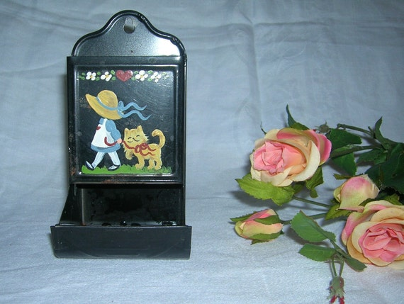 Vintage Black Tin Wall Mounted Hand Painted Match Safe Matchstick Holder
