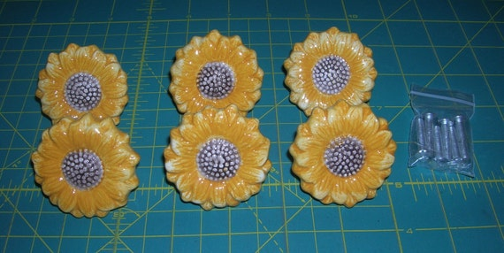 6 Vintage Ceramic Sunflower Style Drawer Pulls