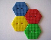 Primary polymer clay Hexagon Buttons set of 4, grid pattern