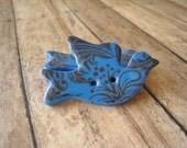 Blue polymer clay Medium Bird Buttons, set of 3 tropical pattern