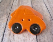 Orange polymer clay Car Buttons, set of 3