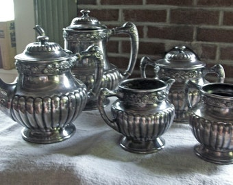 SUPER SALE Antique Silver TEA Service 1885 Reed and Barton 5 Pcs. with Paperwork