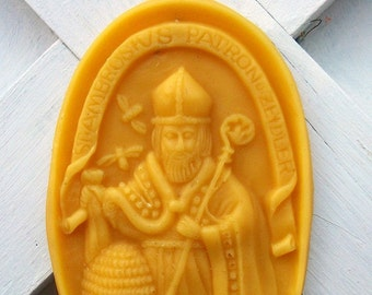 BEESWAX Casting Mold Beekeepers Saint Ambrosius from Antique Mold