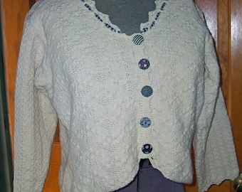 Vintage HANDLOOMED Sweater Oatmeal Cotton Small