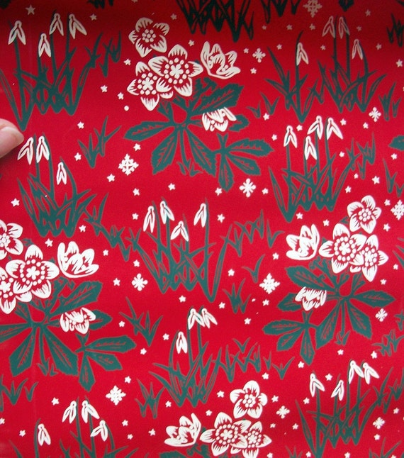 Vintage CHRISTMAS Wrapping Paper 1930s Two Large Sheets