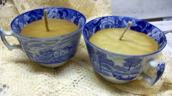 Antique Blue and White Transferware TEACUP Votive Candles BEESWAX