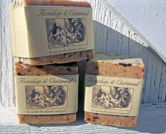 FRENCH Inspired Rustic ROSEHIP and OATMEAL Handmade Soap
