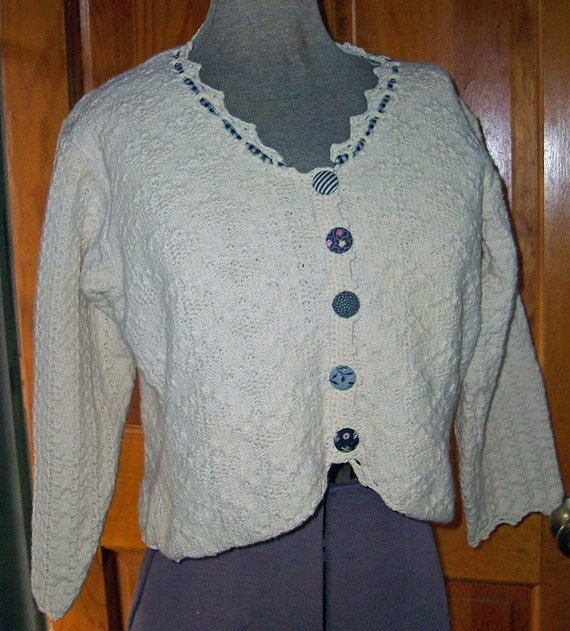 SALE Vintage HANDLOOMED Sweater Oatmeal Cotton Small