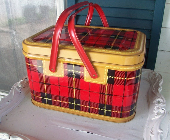 Sale Vintage Tin Picnic Basket Skotch Red Plaid Excellent