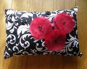Black and White Pillow with Red Poppies