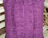 Eggplant Purple Four Ruffle Pillow Cover