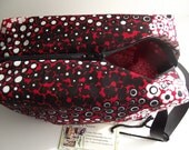 Box Bag- Red and Black Floral Dots