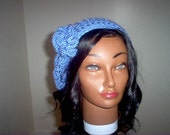 Soft Blue Beret with flower