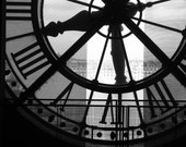 Musee dOrsay Clock, Paris.  Black and White 5 x 7 Print