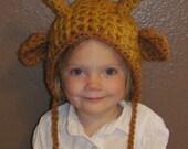 Crocheted Giraffe Hat 18m- small child