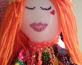 TANGERINE HOPE DOLL Rag Doll Hand Crafted