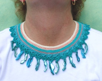 Fiber Statement Necklace  with MOP    Tahitian Holiday