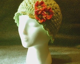 Crocheted Hat, Lime Cloche, flapper style hat, accessories, green hats, chic