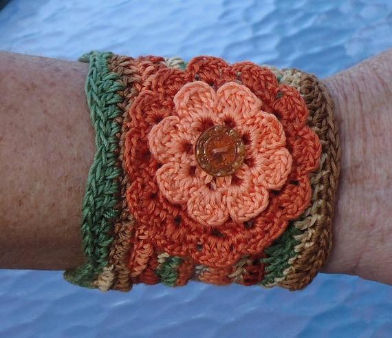 Cool Cotton Cuff Bracelet - Just in Thyme  Fiber Art Fiber Jewelry