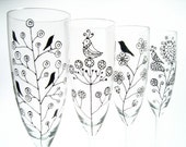 Champagne Flutes, Retro, Birds, Flowers, Paisley, Set of 4