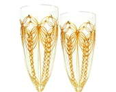 Gold Wedding Glasses, Personalized Champagne Flutes, Gold Lace, Set of 2 - decouverre