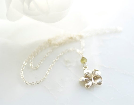 plumeria sterling silver necklace