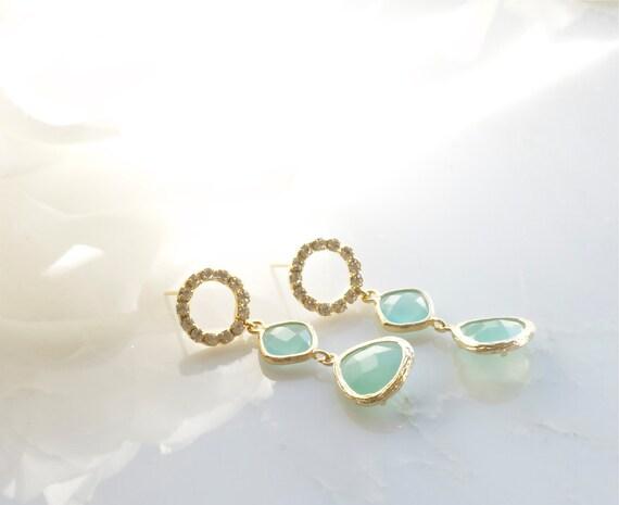 Mint post earrings. Drop earrings. Dangle earrings. Wedding anniversary gift.