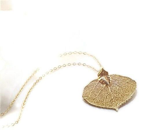 aspen leaf 24k gold filled necklace.