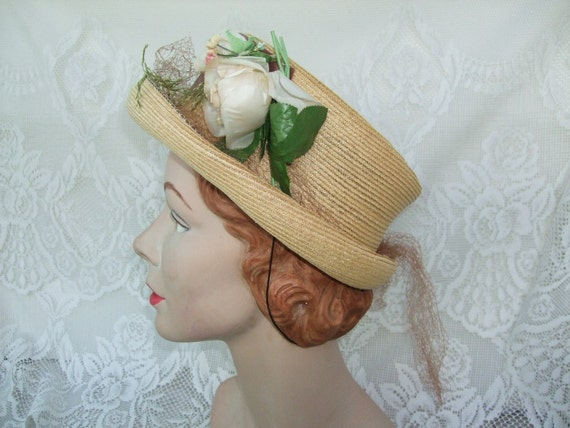 Vintage 1940s Hat Cream Of The Crop Straw  With Flowers And Veiling By Maxine Hats