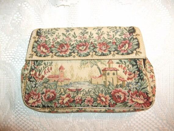 Vintage 1940s Purse Clutch Handbag Floral Tapestry Jolles Original Label Julius Garfinckel & Co. Washington D.C.