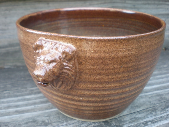 Lion's Head Yarn Bowl, Yarn Bowl, Lion Bowl