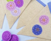 40% off SALE ~ Appliqué bunting with forget me nots in linen Perfect for weddings & parties with 11 flags READY to SHIP