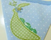 40% off SALE ~ Sweet pea Appliqué  bunting in blue, Perfect new baby gift  READY to SHIP