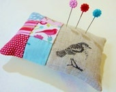 Pin cushion  in red, pink and aqua patchwork with linen in a bird theme Perfect Christmas gift READY TO SHIP