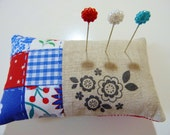 40% off SALE ~ Pin cushion in red, white and blue patchwork with linen in a flower theme Perfect Christmas gift READY to SHIP