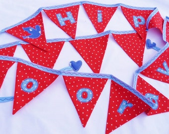 40% off SALE ~ 'Hip Hip Hooray' appliqué bunting in blue and red with sweet little blue birds, 16 flags READY to SHIP