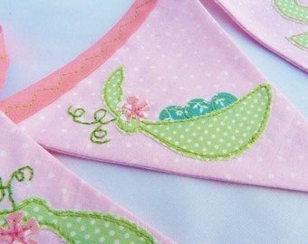 40% off SALE ~ Sweet pea Appliqué bunting in pink, Perfect new baby gift READY to SHIP