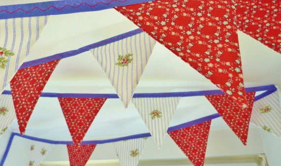 40% off SALE ~ Bunting 'Bright & Breezy' in blue and red with 12 flags READY to SHIP