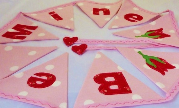 Be mine valentine bunting banner applique rose in pink & red Lovely for weddings Almost 5 ft long with 9 medium flags READY TO SHIP