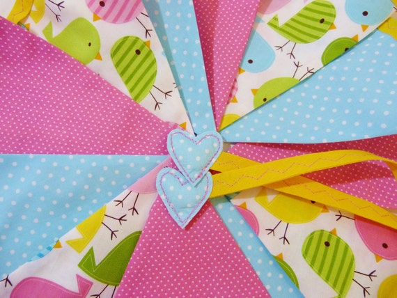 Easter bunting - Chicks - in bright spring colours Over 8 ft long (excluding ties) with 12 flags READY TO SHIP