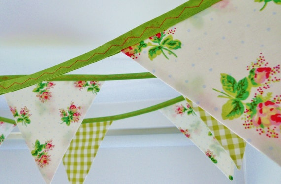 Bunting banner -Rose buds - Perfect for weddings, parties & baby showers Over 11 ft long (excl. ties) with 12 large flags READY TO SHIP