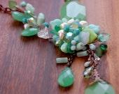 Sale-Glorias Step  Necklace -  Green