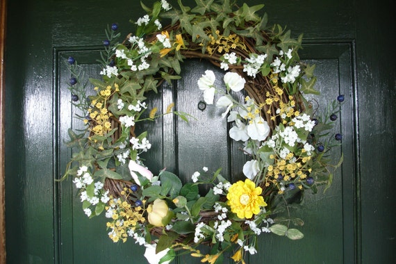 Yellow and White Floral Wreath with Blueberries and Ivy