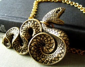 Large Vintage oxidized brass gothic snake, double ring rolo brass chain necklace. N48